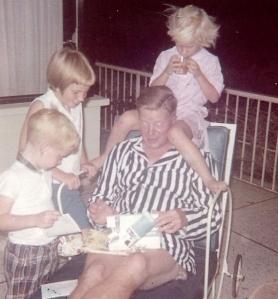 1965 Oct 11, Cali, Dad's birthday-Scotty, Jeannie, Barbara, Dad opening gifts